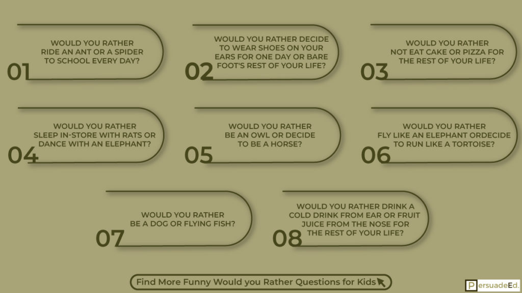 Funny Would you Rather Questions for Kids.